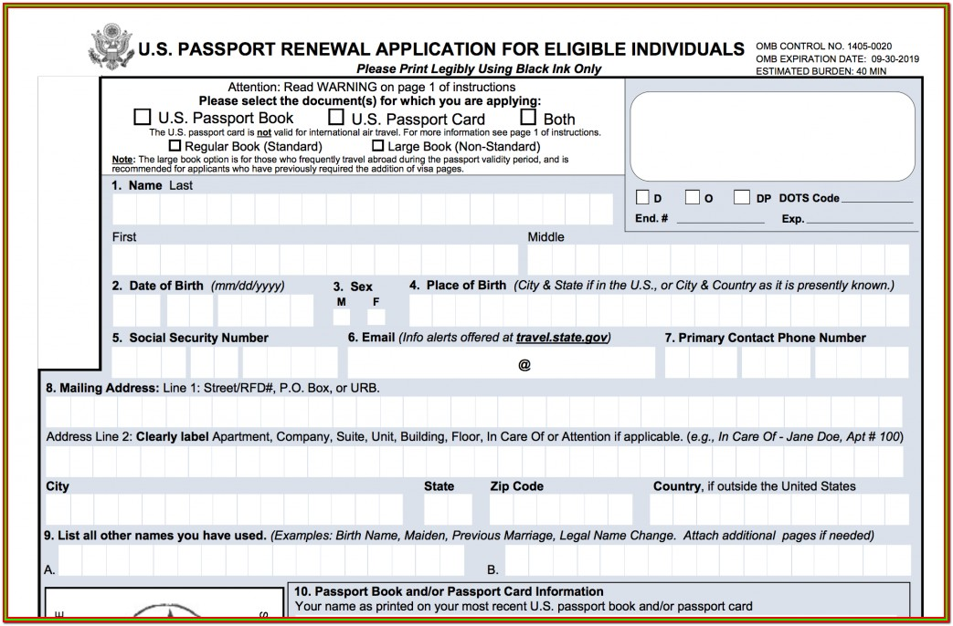 Printable Passport Renewal Form