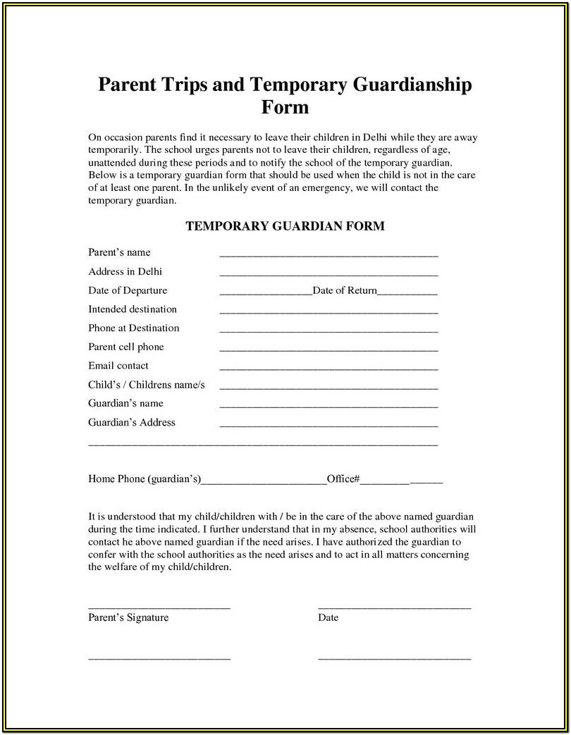 Printable Temporary Guardianship Form Texas