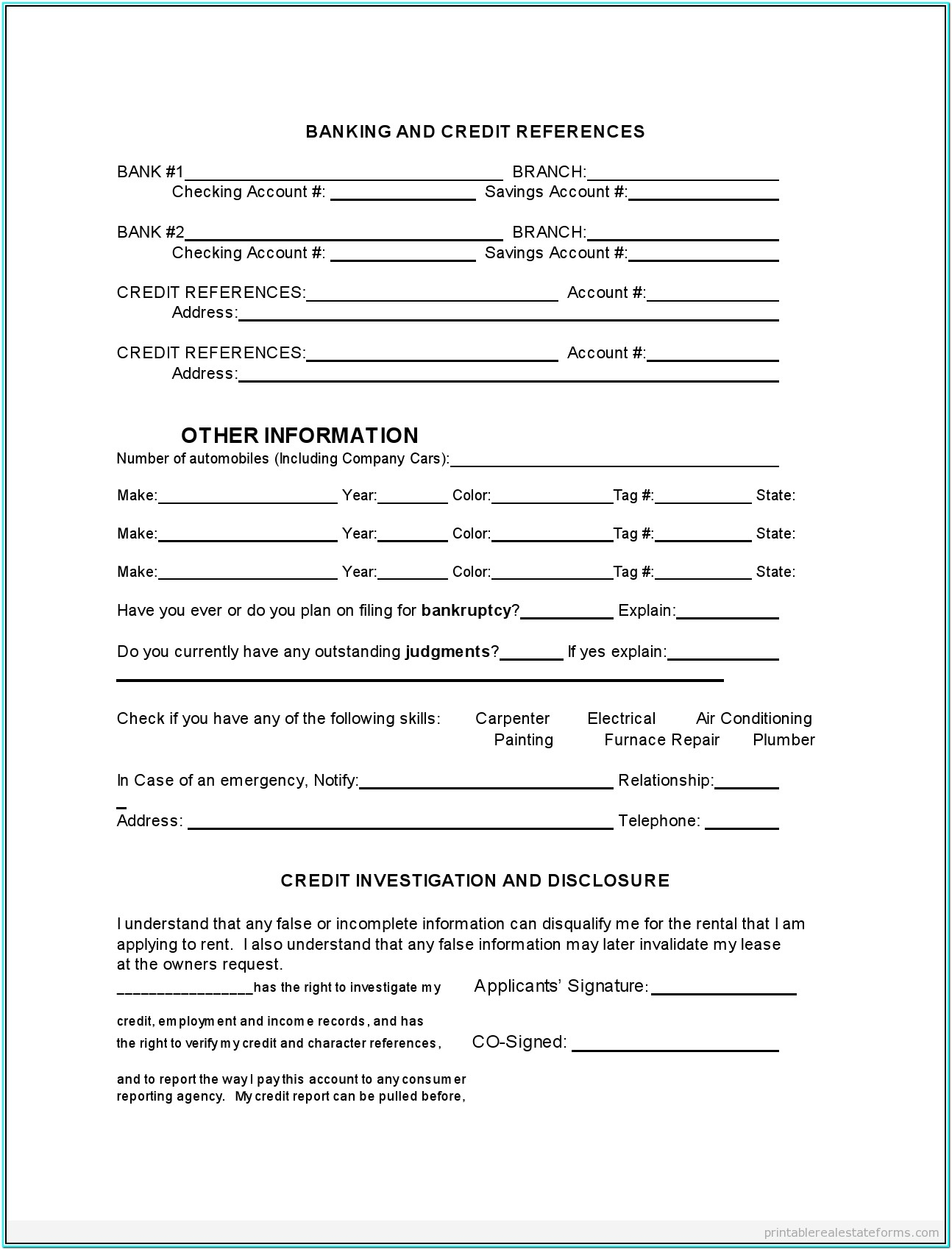 Printable Tenant Rental Application Form