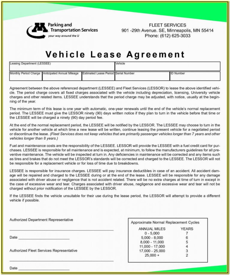 Printable Truck Rental Agreement Form Template