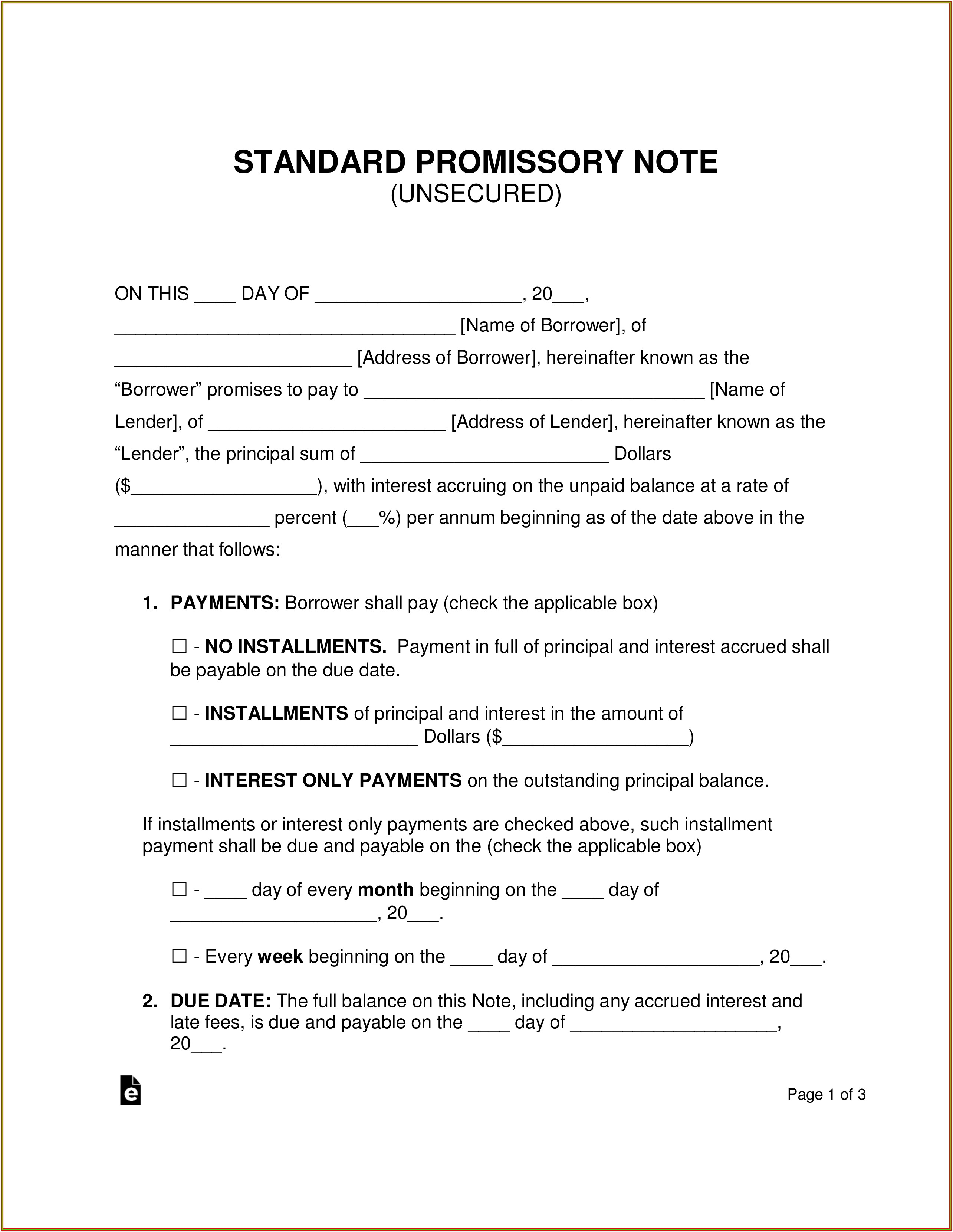 Promissory Note Blank Form