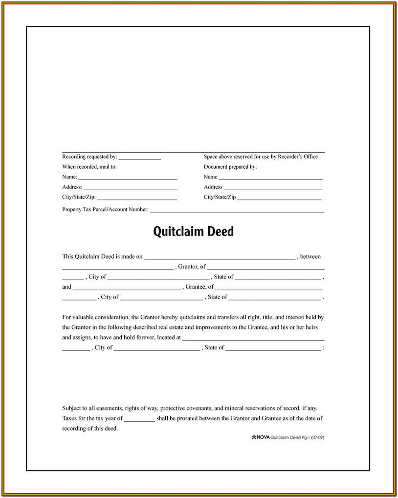 Quick Deed Release Form