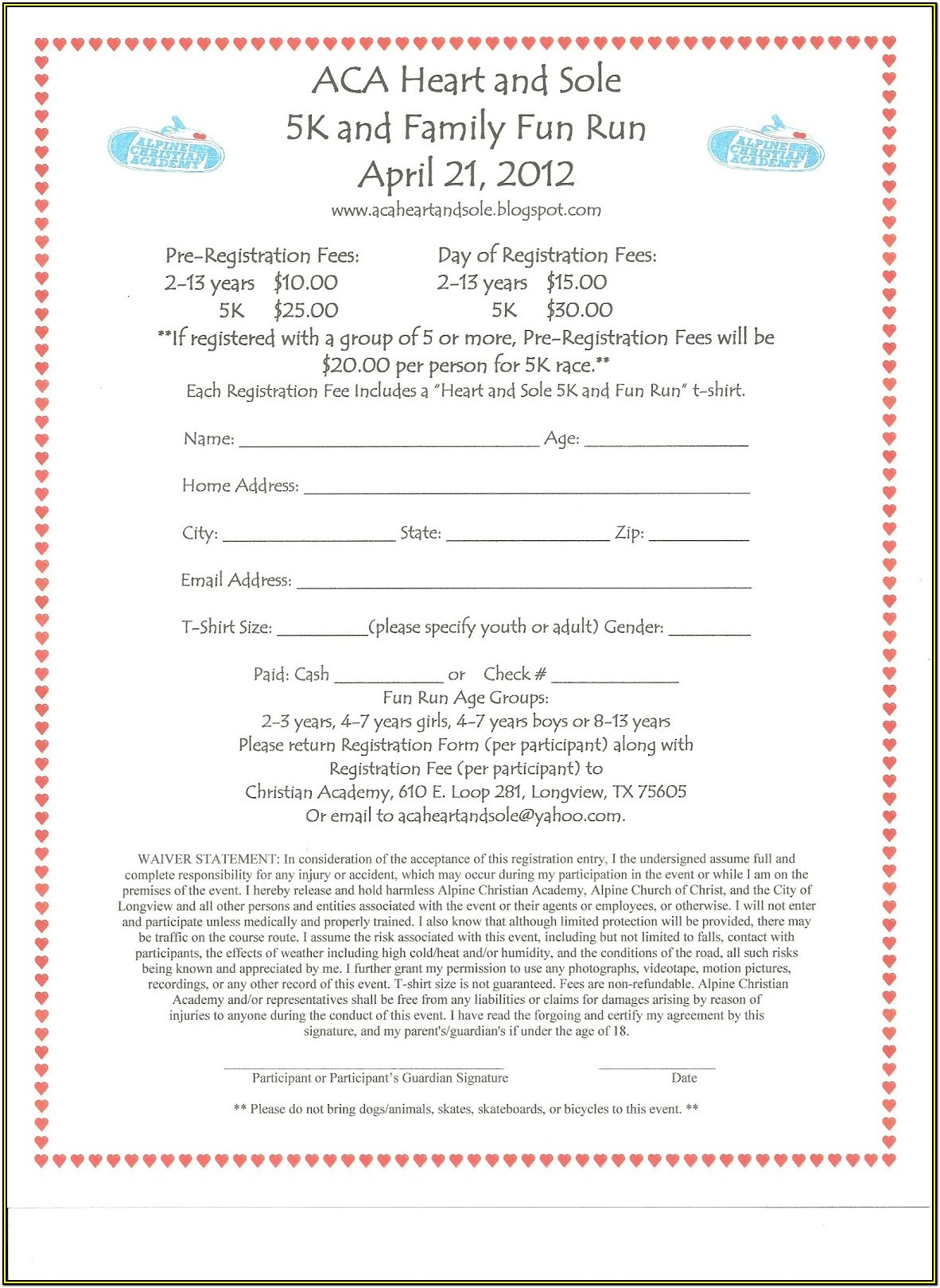 Race Registration Form Template