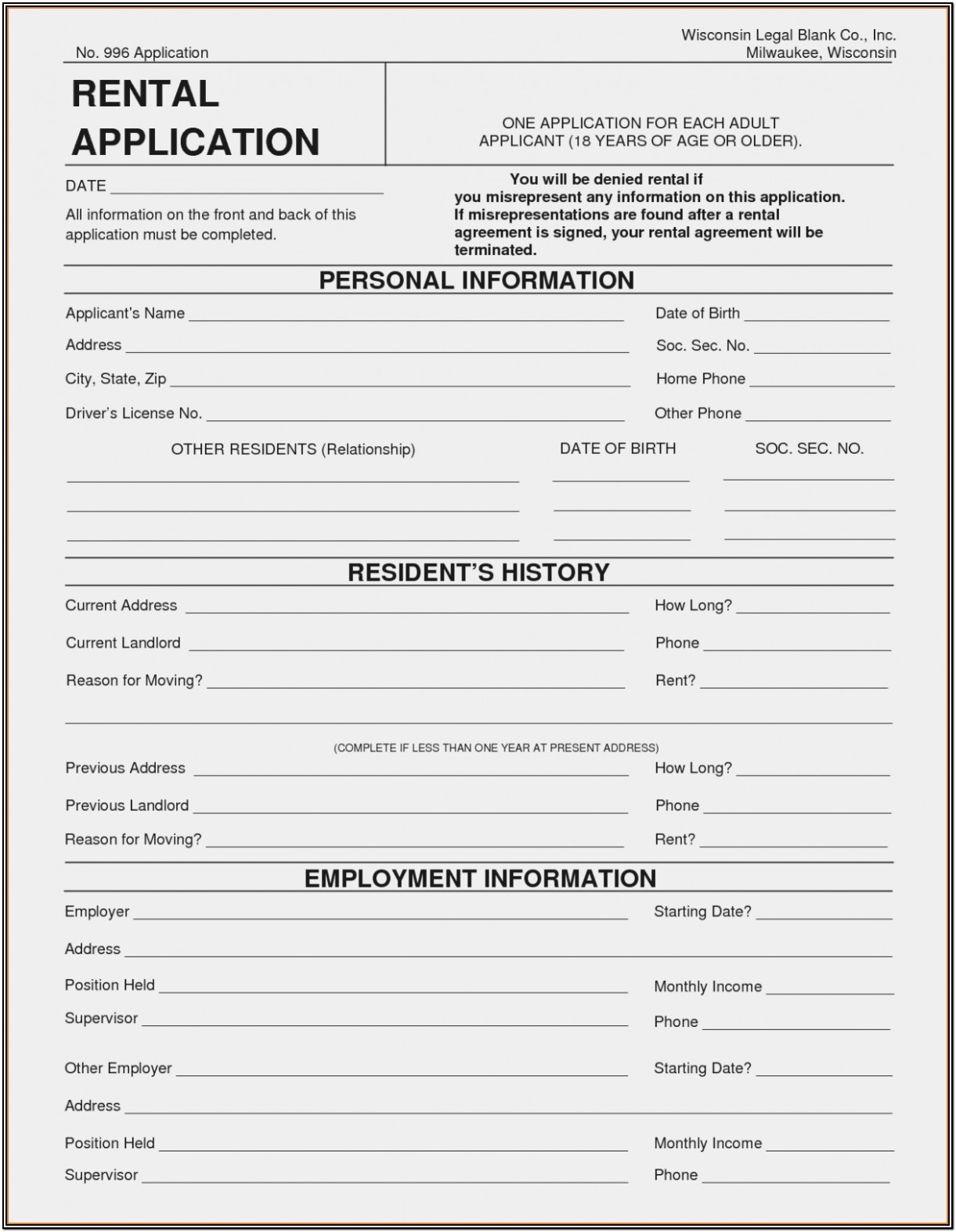 Rental Application Form Free Printable