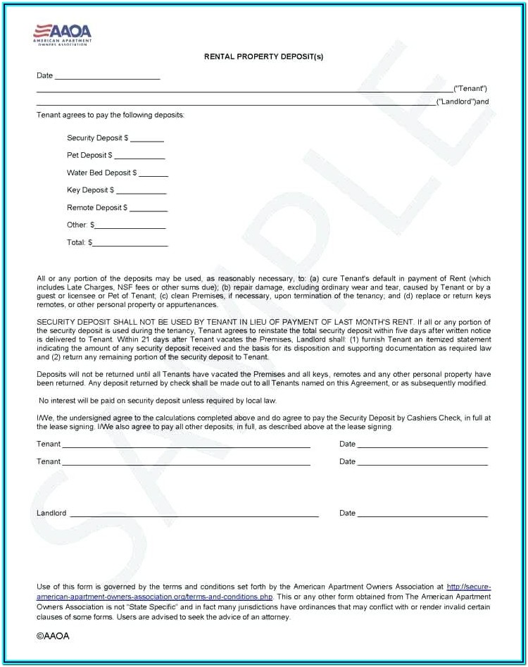 Rental Deposit Agreement Form
