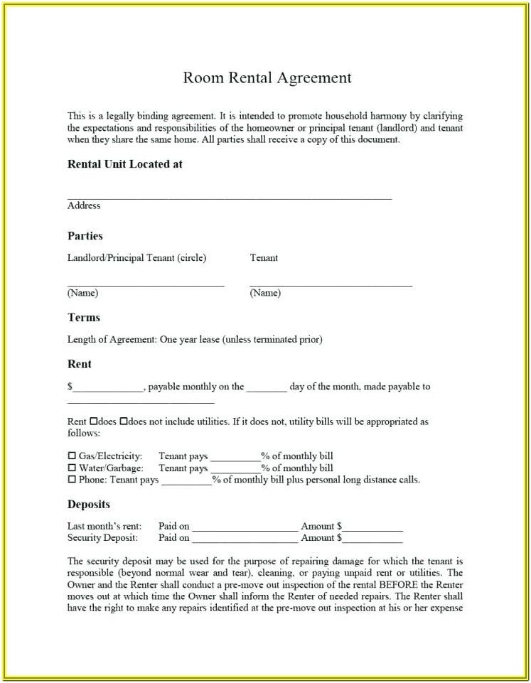 Residential Tenancy Agreement Form 1aa
