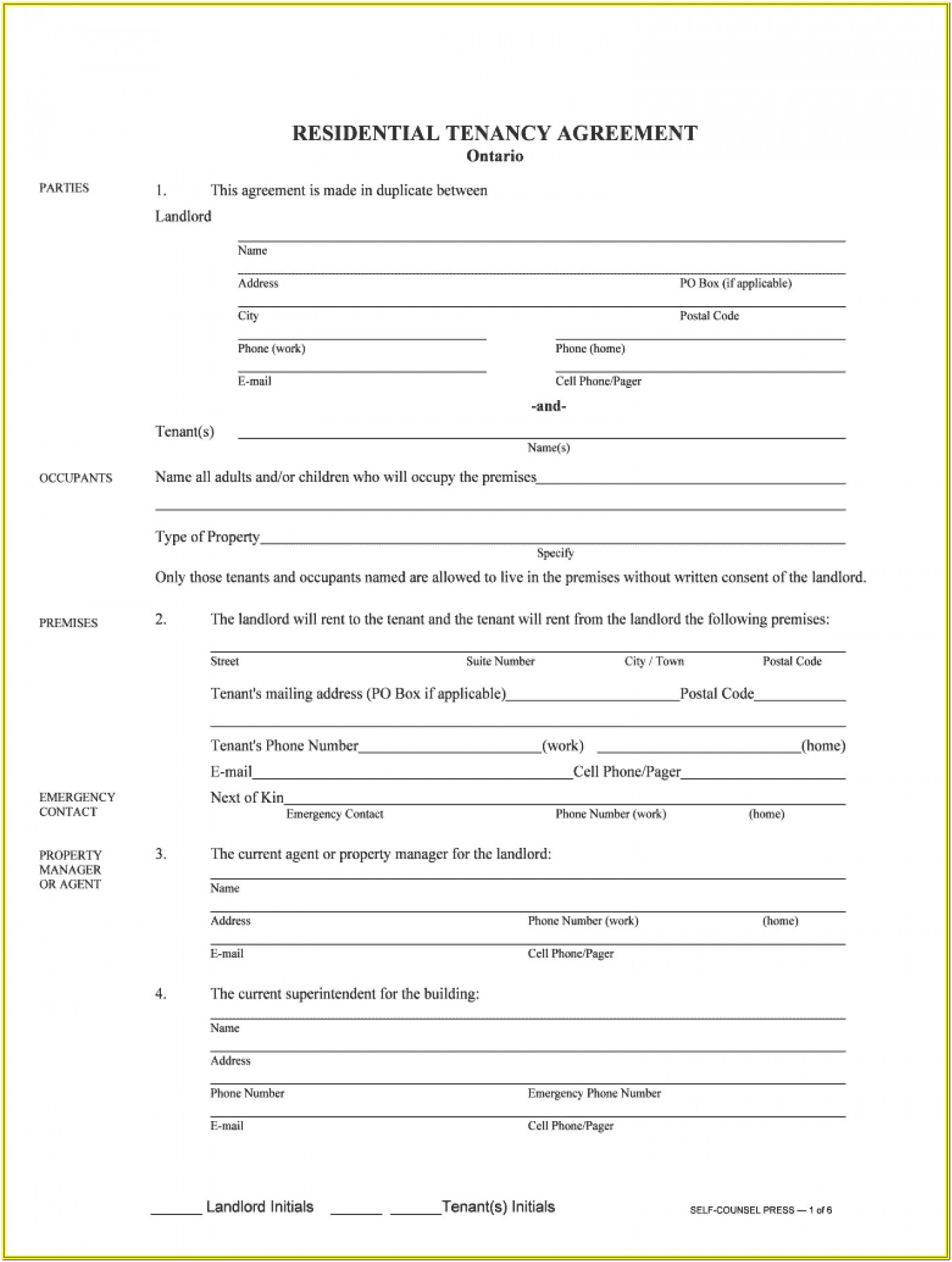 Residential Tenancy Agreement Form 24a