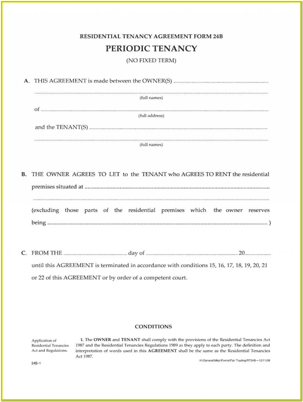 Residential Tenancy Agreement Form 24b