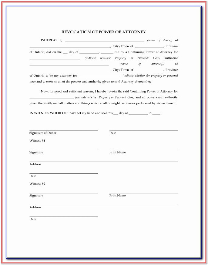 Revocable Power Of Attorney Format