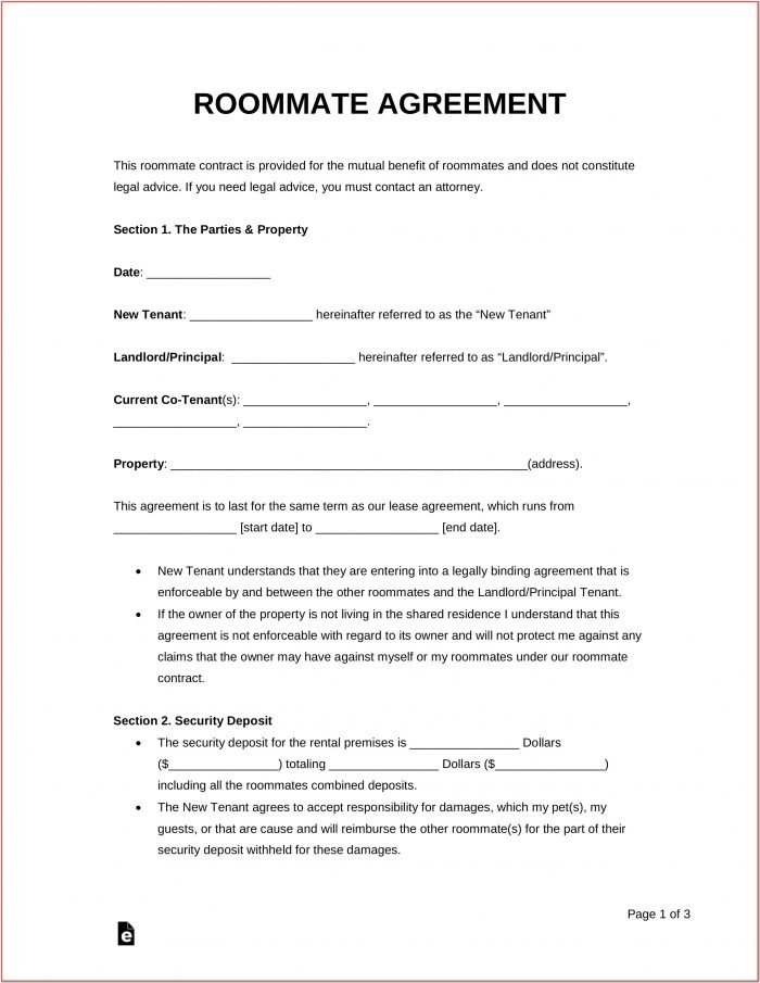 Roommate Lease Form