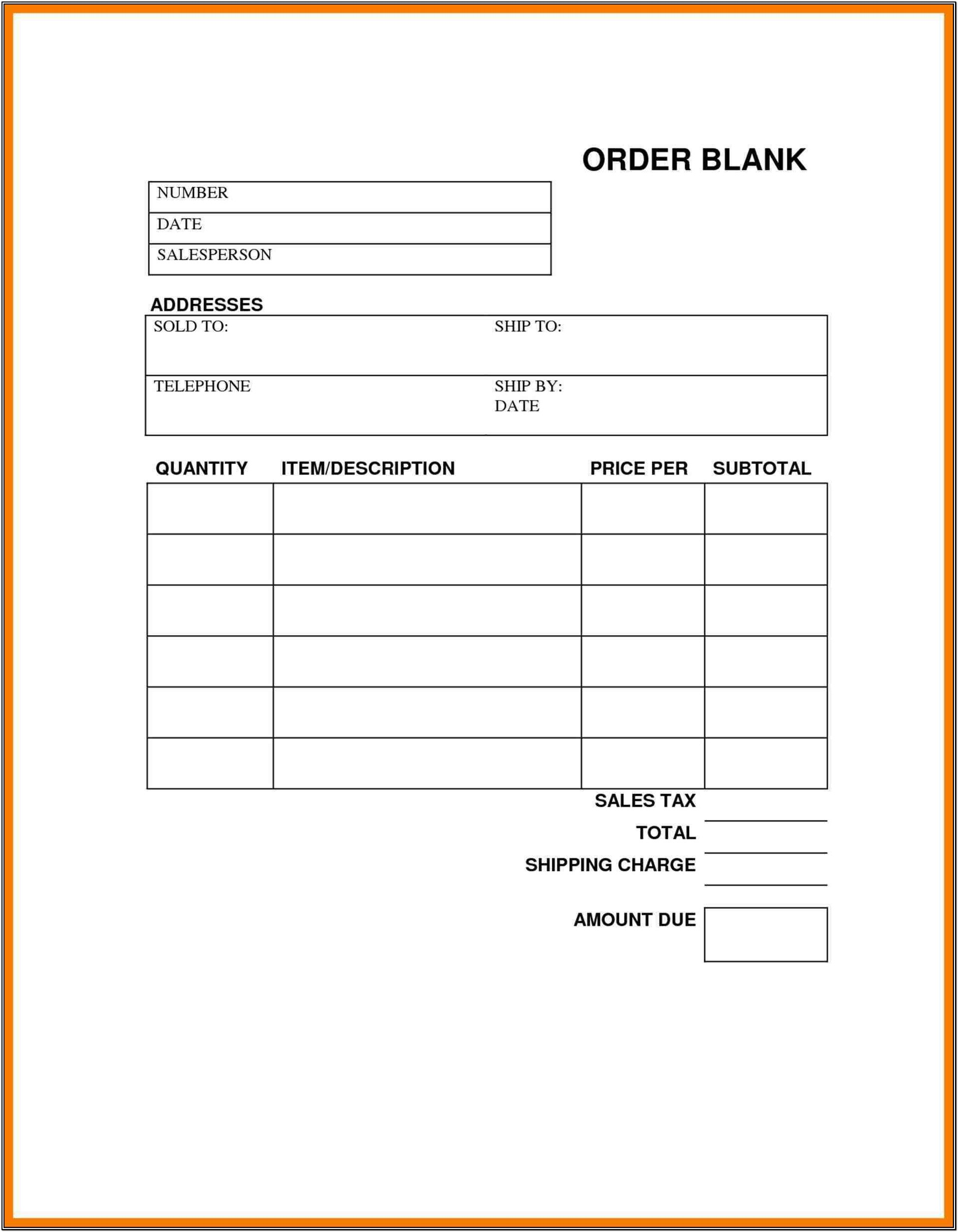 Sales Order Form Templates Free