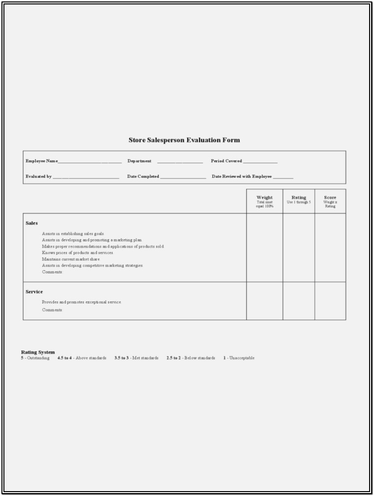 Salesperson Evaluation Form