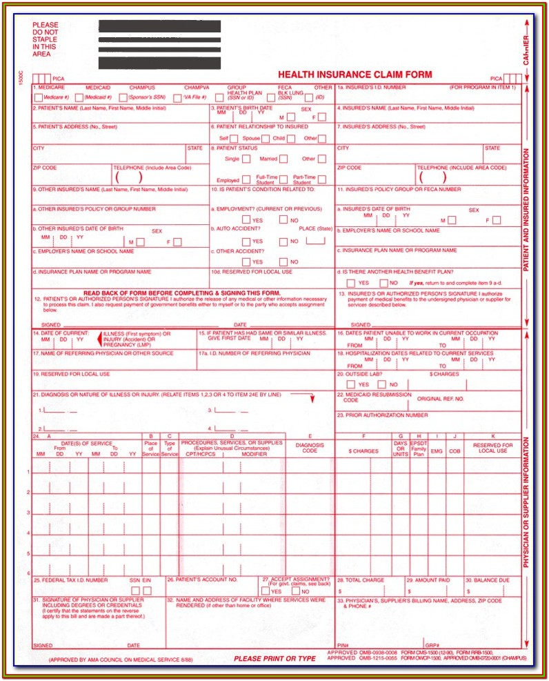 Sample Hcfa 1500 Claim Form