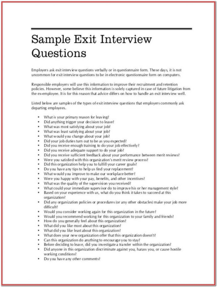 Sample Of Exit Interview Form