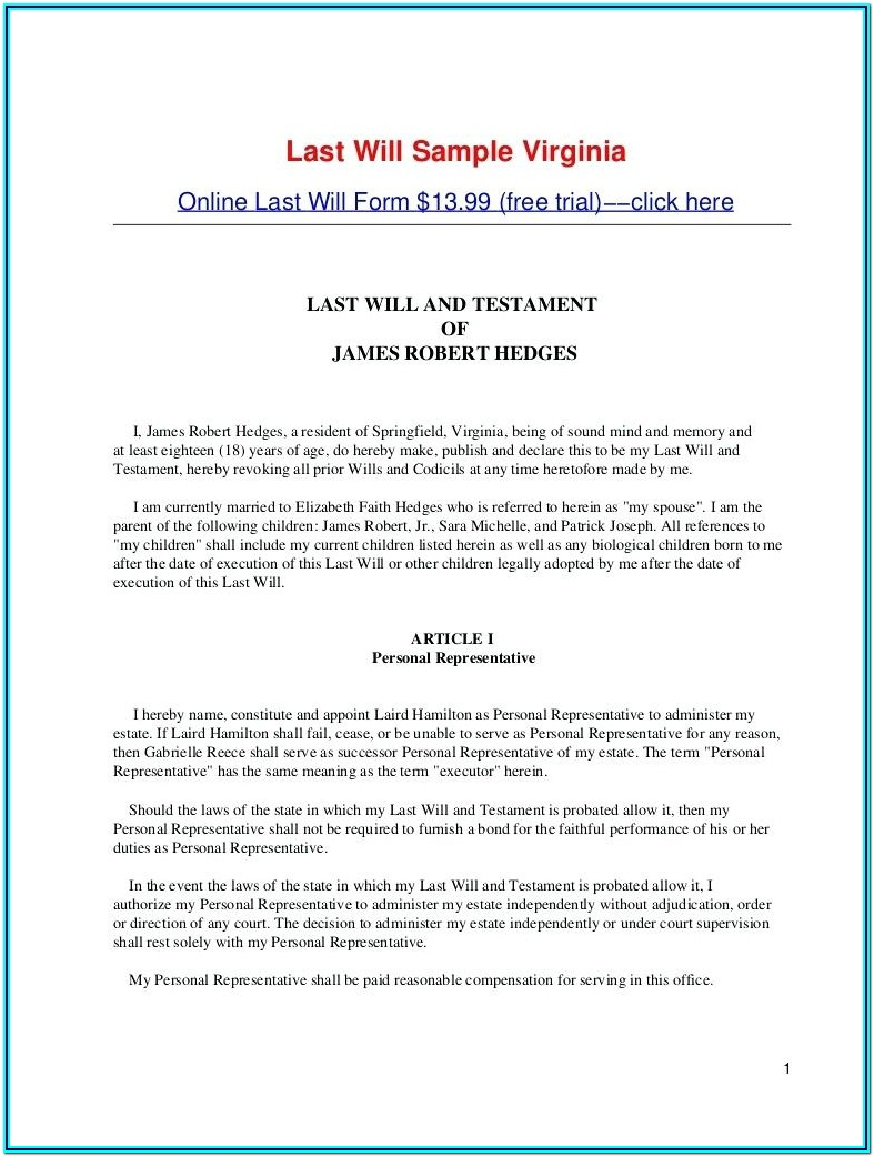 Sample Of Last Will And Testament Form