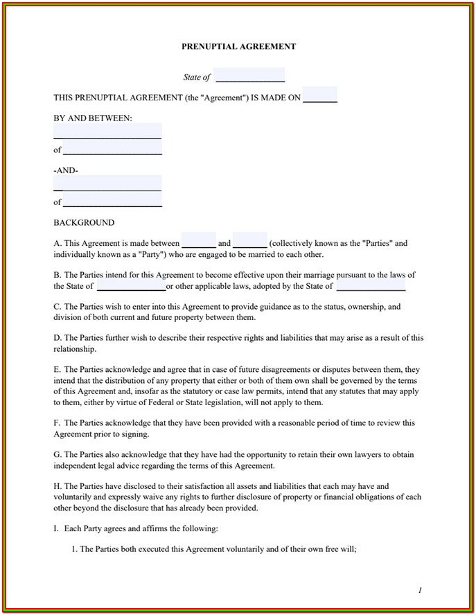 Sample Prenuptial Agreement Form