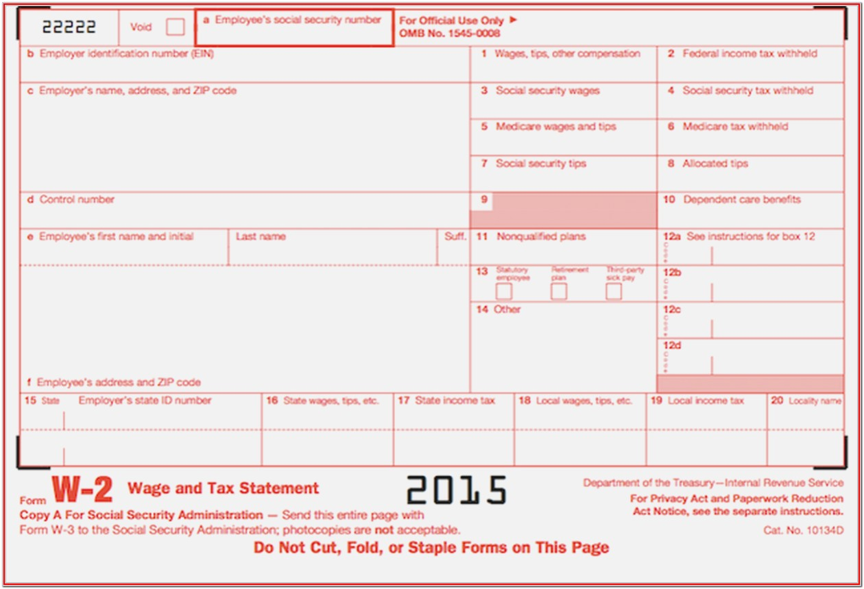 Sample W2 Tax Form