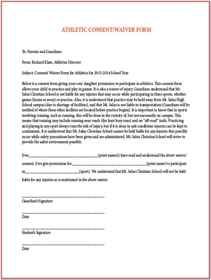 Sample Waiver Form For Sports