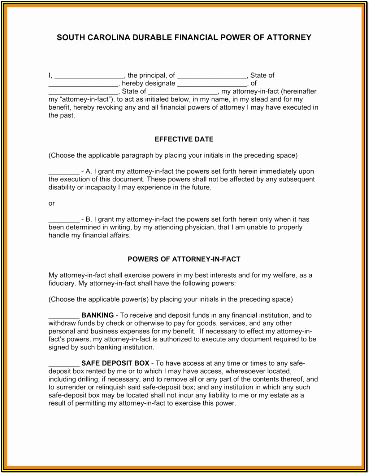 Sc Durable Power Of Attorney Form Free