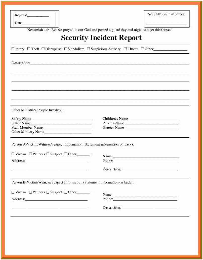 Security Incident Report Form Sample