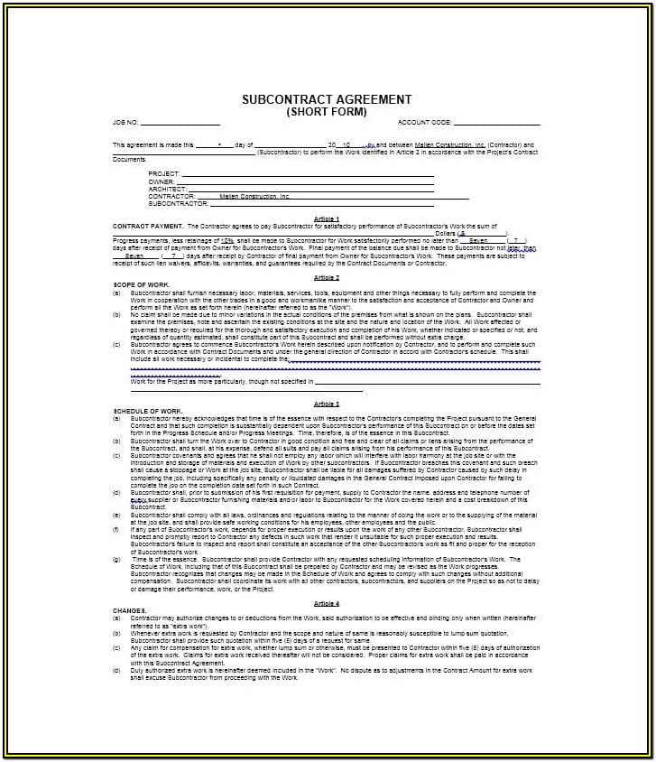 Short Form Subcontract Agreement