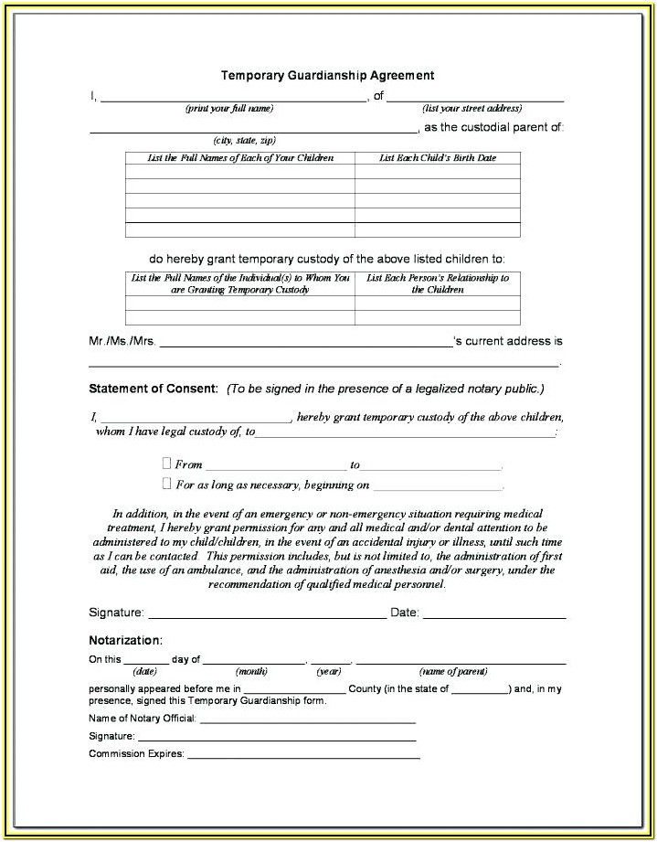 Short Term Guardianship Form