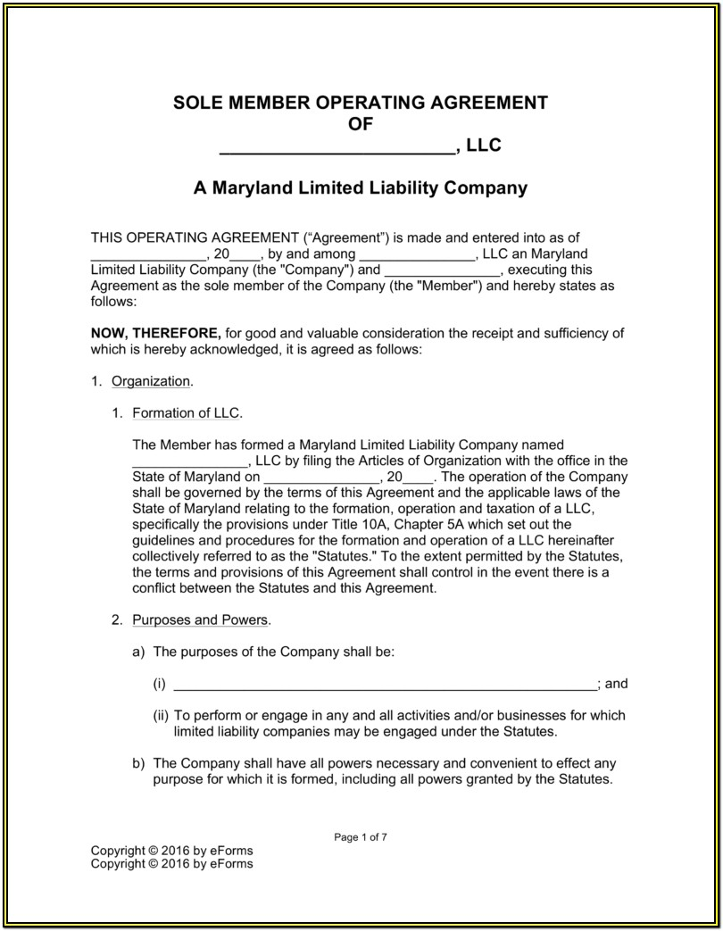 Single Member Llc Operating Agreement Form