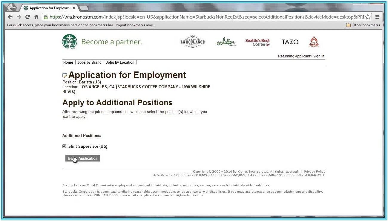 Starbuck Application Form Online