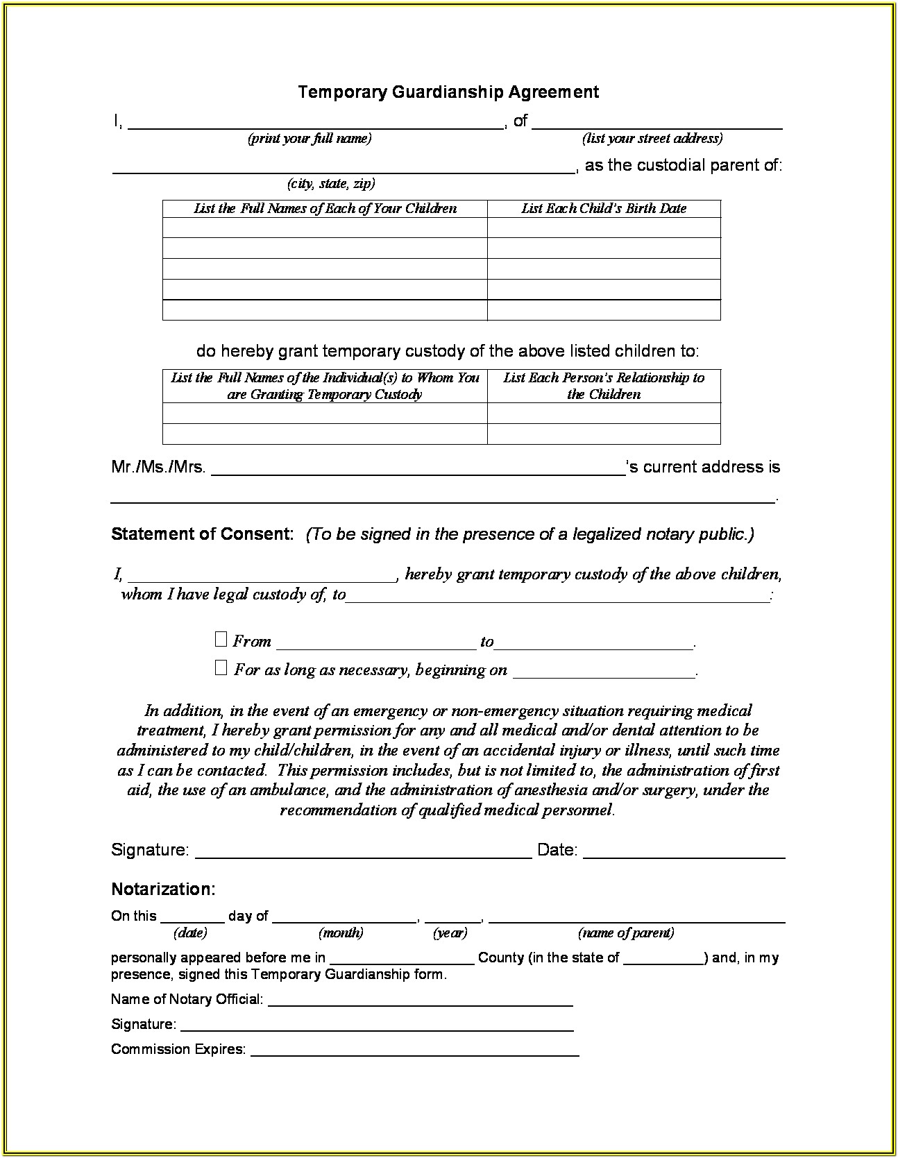 Temporary Custody Forms Ohio