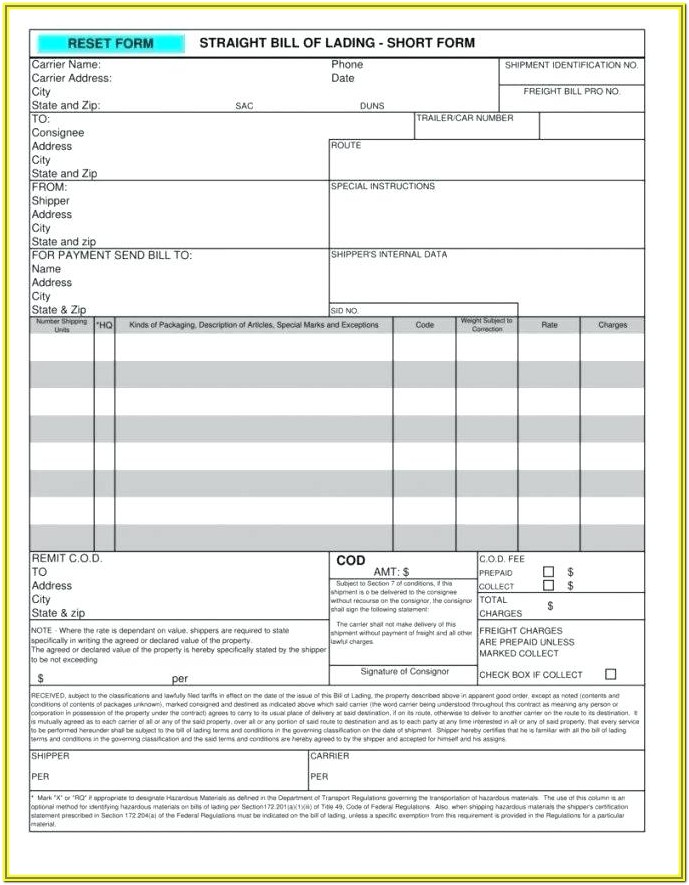 Uniform Straight Bill Of Lading Form