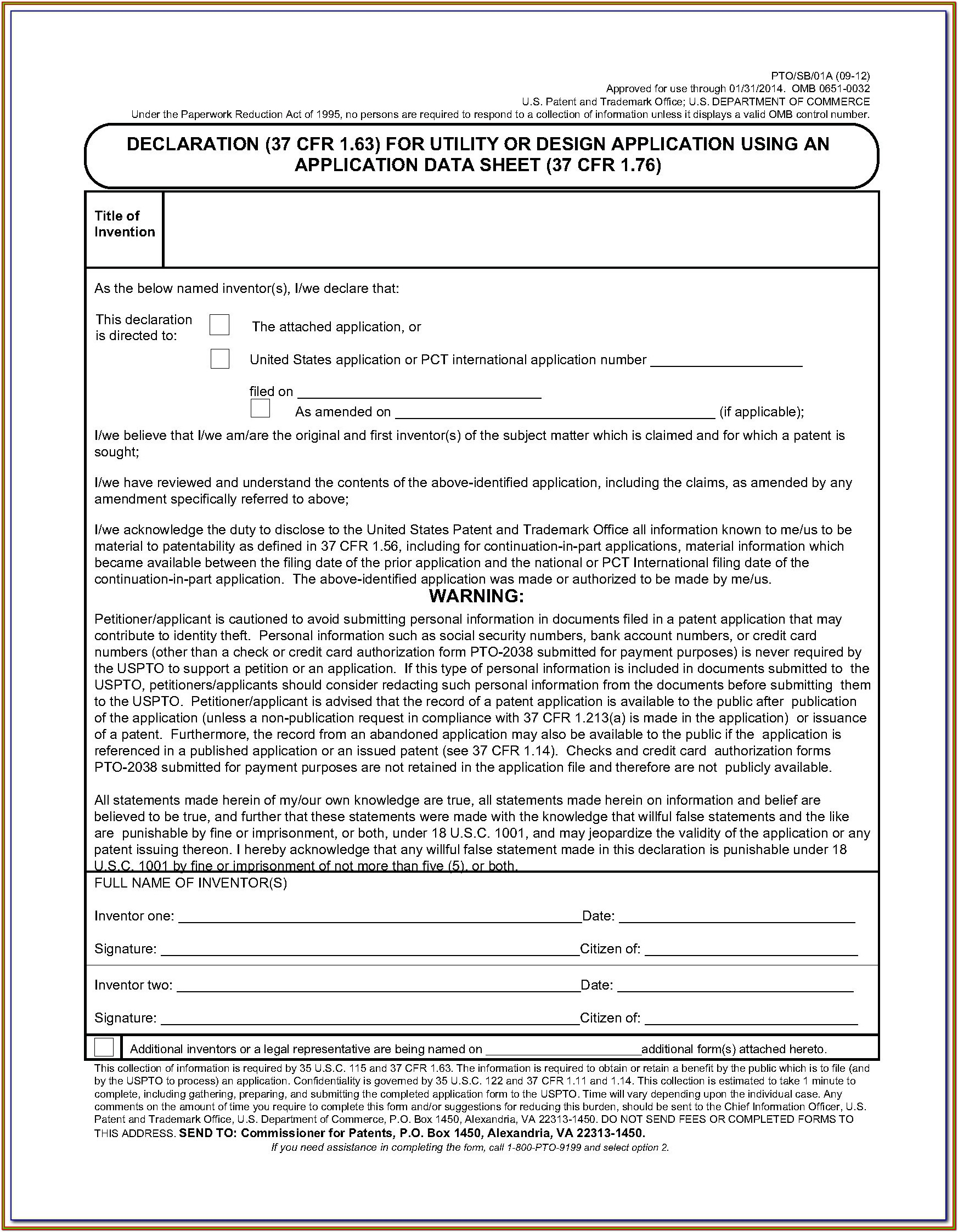 Uspto Provisional Patent Application Form