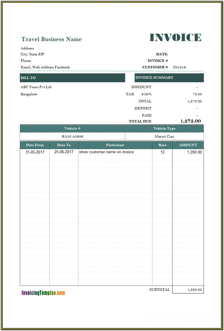 Vehicle Rent Invoice Format