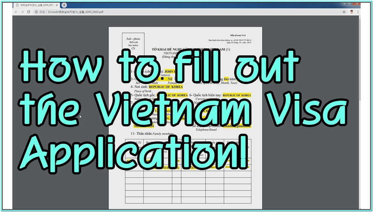 Vietnam Tourist Visa Application Form