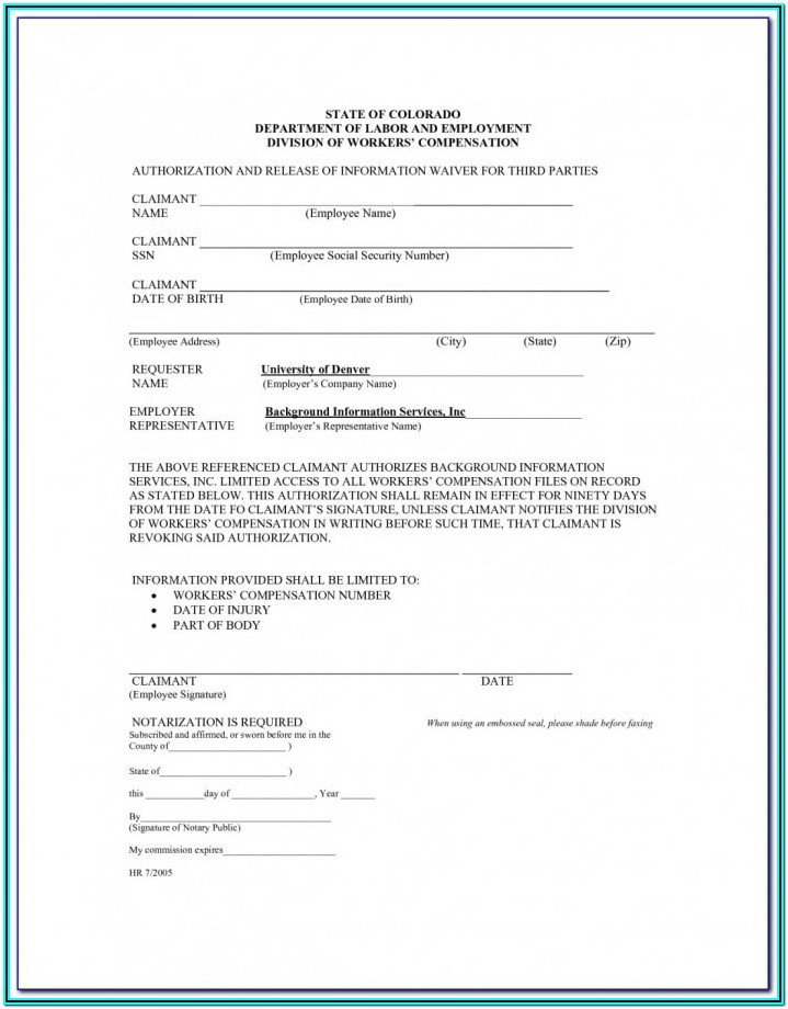 Waiver Of Workers Compensation Form