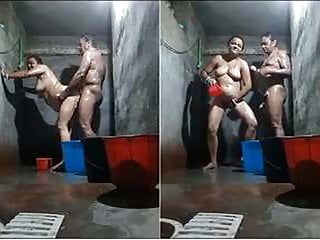 Desi indian old milf couple bathing collectively and fucking