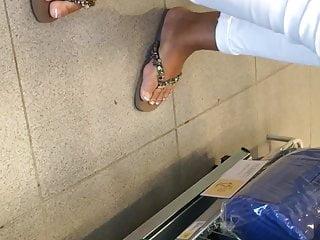 Candid latina mature feet french pedicure close-up