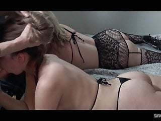 Roasting hot novice housewives sucking and fucking in foursome