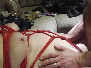 Lover roped, fucked & whipped