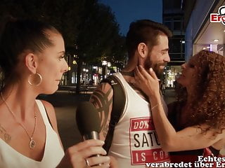 german casting for cuckold on road with couple in public