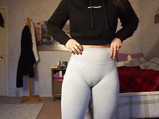 Fuckable whore cameltoe camel toe box firm health club shorts