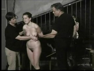 Submissive girl caned.