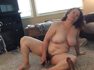 BBW horny mom with bushy hole big black cock fantasy with vibrator