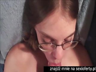 Facial cumshot glasses bitch in bed room
