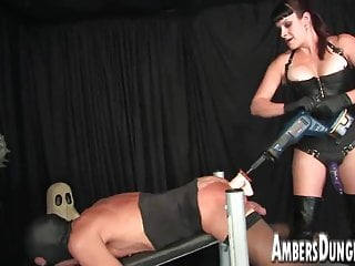 Mistress Lux anus dilling, strap-on and milking of male pig