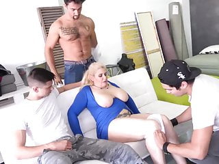 Boys produces gangbang for great old moms