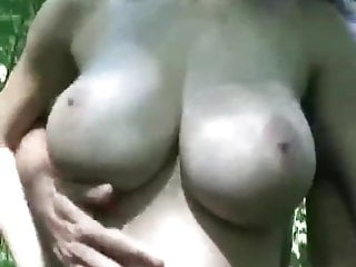 Candy whore with great knockers will get fucked outside