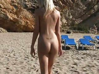 Skinny Blonde Teen Walking On the Beach Nude — Perfect 10.