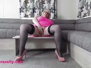 Massive jugs Old Sally smashes her vagina