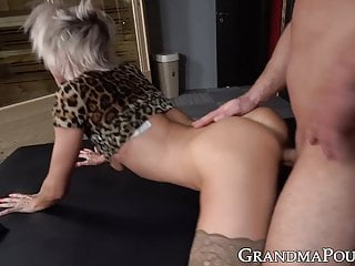 Slutty feeble grandma in leopard high loves getting stuffed