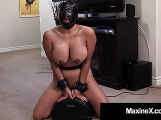 Maxine X – Rides Sybian Wearing Latex Hood For Mouth Fucking